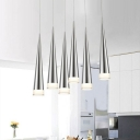 Cone Pendant Lighting Contemporary Light Fixture Aluminum 1-LED Hanging Fixture in Black/Silver