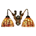 Floral Wall Lamp Tiffany Style Handcrafted Shell Double Heads Wall Sconce in Multicolor