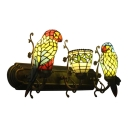Tiffany Style Vintage Parrot Wall Light Stained Glass Triple Wall Sconce in Multi Color