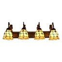 Bell Shade Wall Light Tiffany Style Metal 4 Lights Sconce Lighting with Colorful Bead