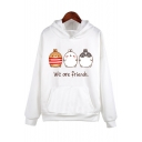 Cartoon Letter Pattern Dropped Shoulder Loose Hoodie with Large Pocket