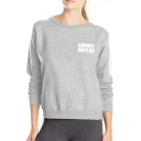 Letter DUNDER IFFLIN Printed Long Sleeve Round Neck Leisure Sweatshirt