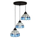 Nautical Tiffany Dome Drop Light Stained Glass Triple Head Pendant Lamp with Round Canopy