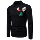 Christmas Theme Santa Tree Sock Pattern Button Placket Slim Fit Polo Shirt