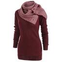 Unique Long Sleeve Detachable Scarf Round Neck Plain Tunics Sweater