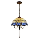 3 Head Dome Suspension Light Baroque Vintage Stained Glass Pendant Lamp in Multi Color