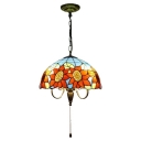 Triple Head Sunflower Suspended Light Tiffany Style Stained Glass Decorative Pendant Lamp