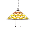 Tiffany Style Conical Drop Light Stained Glass 1 Bulb Pendant Light in Yellow for Living Room