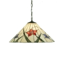 Single Light Flower Suspended Lamp Tiffany Style Stained Glass Lighting Fixture in Beige