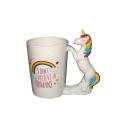 3D Letter I DON'T BELIEVE IN HUMANS Rainbow Printed Unique Unicorn Handle White Ceramic Mug