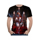 Black Christmas Tree Printed Round Neck Short Sleeves Tee for Guys