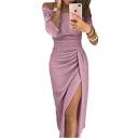 Women's Off The Shoulder Long Sleeve Split Front Silk Midi Sheath Party Dress