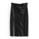 Chic Ruffle-Trimmed Bow-Tied Waist Fashion Black Midi PU Shift Skirt