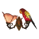 Animal and Flower Wall Lamp Tiffany Style Stained Glass Double Heads Wall Lamp in Red
