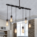 6 Lights Natural Iron 35'' Wide Hanging Pipe LED Multi Light Pendant
