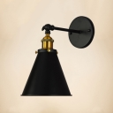 Brass Finish Cone Small Wall Light Vintage Iron 1 Head Sconce Lighting with Round Base