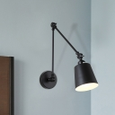 1 Bulb Adjustable Arm Sconce Lighting Industrial Iron Sconces in Black for Coffee Shop