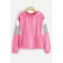 Casual Long Sleeve Colorblock Loose Stylish Drawstring Pink Hoodie