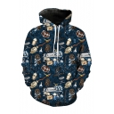 3D Harry Potter pattern Long Sleeve Blue Drawstring Hoodie