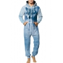 Light Blue 3D Wolf Pattern Zip Front Long Sleeve Hooded Jumpsuits