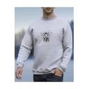 Cartoon Bee Printed Long Sleeve Round Neck Casual Gray Sweatshirt for Guys