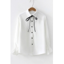 Chic Black Bow-Tied Lapel Collar Long Sleeve Button Front Fitted Shirt