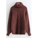 Winter's Turtleneck Long Sleeve Warm-Up Basic Solid Cable-Knitted Sweater