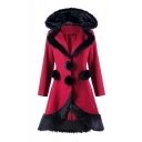 Winter's Hot Fashion Fur Trimmed Pompom Embellished Hooded Long Sleeve Christmas Burgundy Woolen Longline Coat