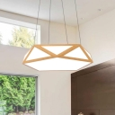Wooden Diamond LED Pendant Lamp Simple Style Metal and Acrylic Chandelier for Bedroom Kitchen Living Room