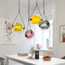 Nordic Glass Shade Single Suspension Lamp Fume/Purple/Yellow Glass Hanging Light 12