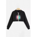 Fashion Firework Pattern Long Sleeve Black Cropped Loose Fitted Hoodie