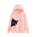 Cartoon Cat Printed Long Sleeve Ear Design Loose Fitted Pink Hoodie
