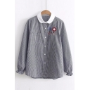 Contrast Collar Cartoon Lollipop Embroidered Gingham Print Long Sleeve Black Shirt