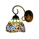 Multicolored Dome Wall Lamp Victorian Tiffany Style Stained Glass Wall Sconce for Kitchen