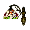 Dragonfly and Flower Wall Sconce Tiffany Style Stained Glass Wall Lamp in Multicolor