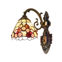Flower Design Wall Sconce Tiffany Style Stained Glass Wall Light in Beige for Coffee Shop