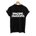 New Arrival Short Sleeve Round Neck Letter IMAGINE DRAGONS Printed Top for Girls