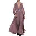 Retro Style Cold Shoulder Lantern Sleeve Plain Plunge V Neck Beaded Embellished Maxi Chiffon Pink Dress