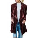 Women's New Trendy Solid Lapel Collar Long Sleeve Open Front Velvet Trench Coat with Pocket