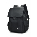 Fashion USB Charge Plain Drawstring Fastening Backpack School Bag