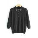 Simple Long Sleeve Lapel Collar Jewel Embellished Knit Sweater