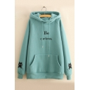 Winter's New Arrival Long Sleeve Letter BE CURIOUS Printed Thick Hoodie