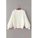 Plain Long Lantern Sleeve Mock Neck Oversize Casual Sweater