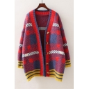 Long Sleeve Colorblock Single Breasted V Neck Leisure Loose Cardigan