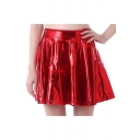Cool Street Style Elastic Waist Faux Leather Plain Mini A-Line Skirt