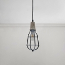 Metal Frame Suspended Light Retro Style Wood Single Hanging Lamp for Bedroom Living Room