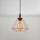 Diamond Shape Pendant Lamp Vintage Iron Single Bulb Hanging Light in Rose Gold with Metal Frame
