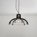 Barn/Dome Shade Pendant Lighting Industrial Style Metal Frame 1 Bulb Hanging Pendant Light