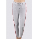 New Fashion Striped Drawstring Waist Skinny Pants