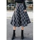 Vintage Classic Plaid High Waist Midi A-Line Woolen Skirt